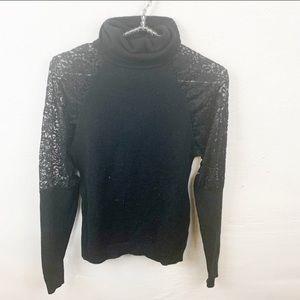 Zeagoo l Black Lace Sleeve Turtleneck Top